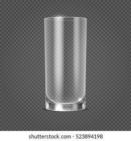 empty realistic drinking glass on transparent checkered background. Clean glassware object illustration