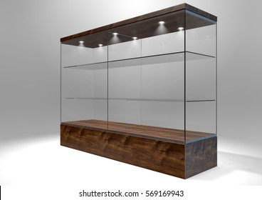 An empty rectangular glass display cabinet with a wooden base and lid and glass shelves on an isolated studio background - 3D rendering