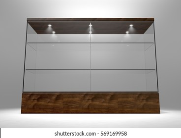 An Empty Rectangular Glass Display Cabinet With A Wooden Base And Lid Shelves On