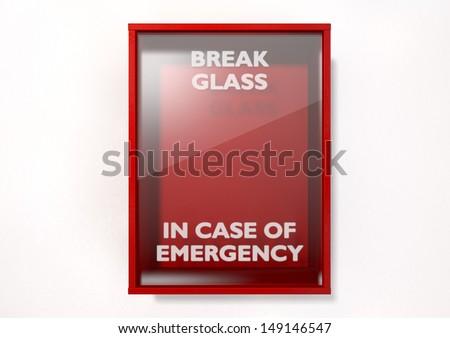 Empty red emergency box case emergency stock illustration 149146547 an empty red emergency box with an in case of emergency breakable glass on the front maxwellsz