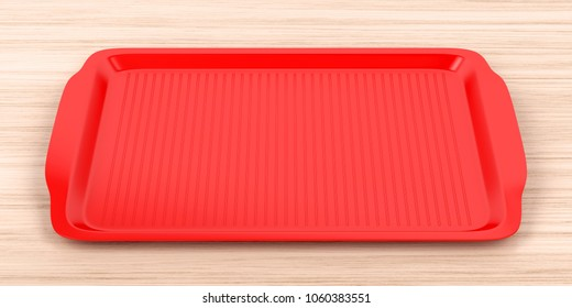 Empty red plastic tray on wood table, 3D illustration