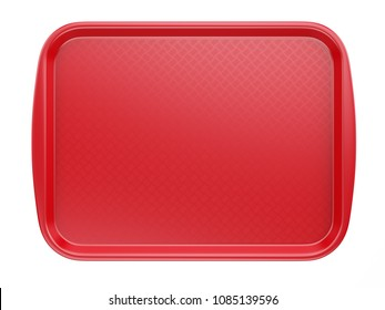 Empty Red Plastic Tray salver with Handles Isolated On White. 3d rendering