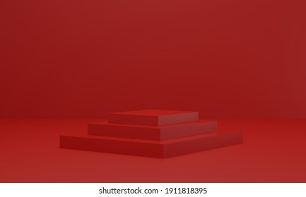 Empty red platform for showing product. podium in red studio room. 3d render