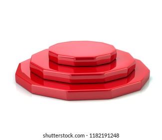 Empty red polygonal podium 3d illustration on white background