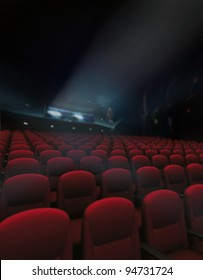 Empty red of seat and rows in cinema with projector lighting