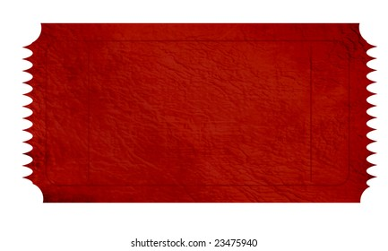 empty red ticket on a white background
