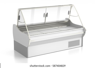 Empty refrigerator display showcase. Isolated on white background include clipping path. 3d render