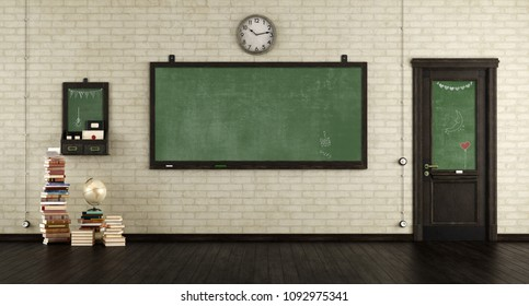 Empty retro classroom with blackboards.wooden door and books on hardwood floor - 3d rendering
