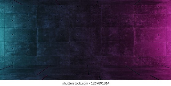 Empty Retro Neon Dark Grunge Concrete Blue Purple Glowing Room With Space For Text Background Modern Elegant Concept 3D Rendering Illustration