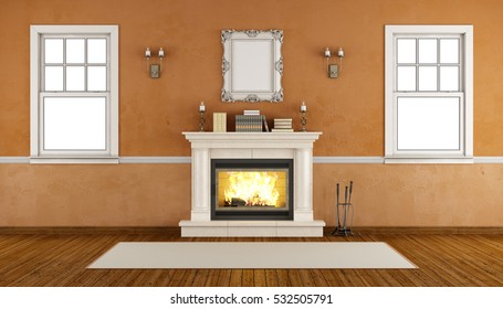 Empty retro room with fireplace and two windows - 3d rendering