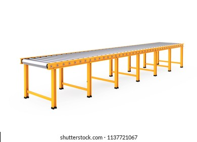 Empty Roller Conveyor Line on a white background. 3d Rendering