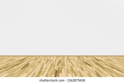 Empty room with ash wood parquet floor and white painted wall. 3D rendering illustration of empty room for design interior.