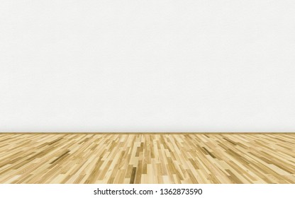 Empty room with ash wood parquet floor and white blank painted wall. 3D rendering illustration of empty room for design interior.