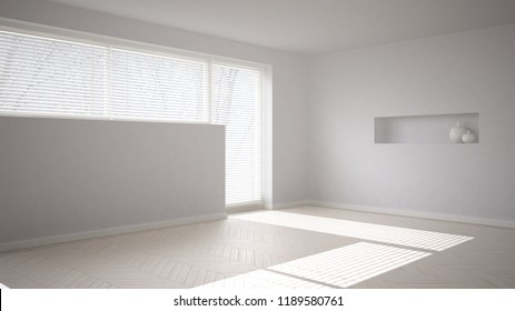 Empty room background with herringbone parquet and big window with venetian blind, white modern architecture interior design, 3d illustration