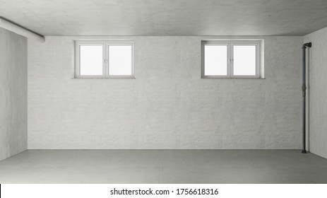 Empty room in the basement with two windows from a new house (3d rendering)
