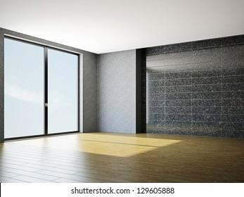 The empty room with big panoramic window