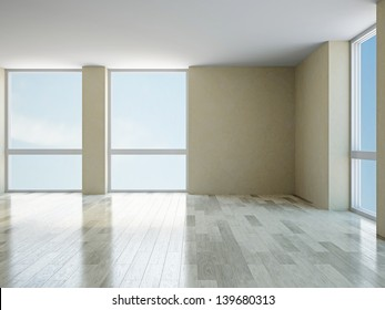 The empty room with big  panoramic windows