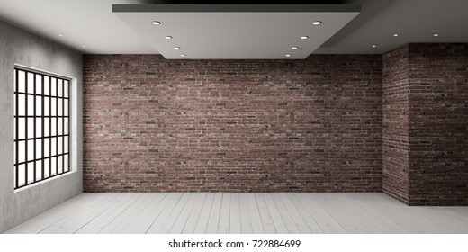 Empty room with big window in loft style. Wooden floor and brick wall in a modern interior. 3D rendering.