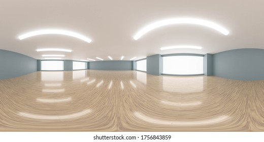 empty room with blue walls and wooden floor interior 3d rendering illustration 360 equirectangular panorama