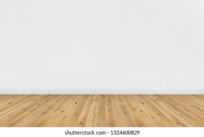 Empty room with brown wooden floor and white painted wall. Empty loft room for design interior. Long wide picture of empty living space room.