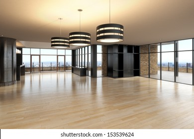 Empty room of business, or residence with city background.