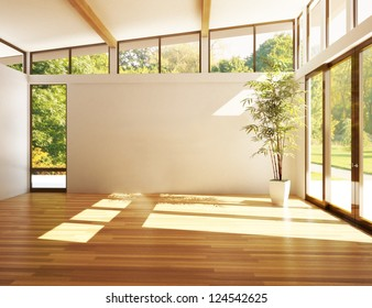Empty room of business, or residence with woods background