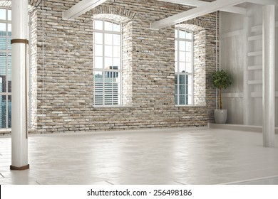 Empty room of business,or residence with brick interior and a city background. Photo realistic 3d illustration.