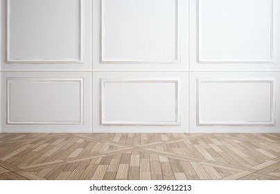 Empty room with classic white wood paneling on the walls and a hardwood parquet floor for use as an interior design or decor background, 3d rendering