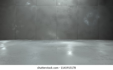 Empty Room With Concrete Wall Panels and Polished Floor (3d Illustration)