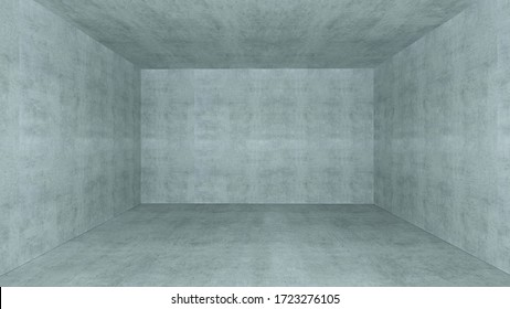 Empty room with concrete wall space 3D rendering