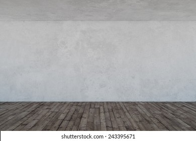 Empty room with concrete wall and wooden floor
