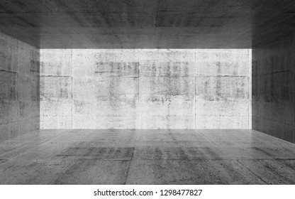 Empty room with concrete walls. Abstract interior background. 3d render illustration