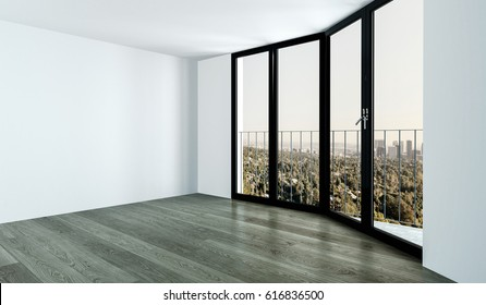 Empty room corner with high black window, white walls and wooden floor, with beautiful view of city park from above. 3d Rendering.