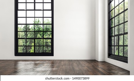 Empty room corner view with large windows with black framed cottage pane glass with a view to greenery outside and a wooden floor in a low angle view. 3d rendering.
