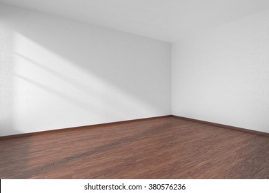 Empty room with dark hardwood parquet floor and walls with white textured wallpaper and sunlight from window, perspective view, 3d illustration