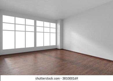 Empty room with dark hardwood parquet floor, big window and walls with white textured wallpaper and sunlight from window, perspective view, 3d illustration