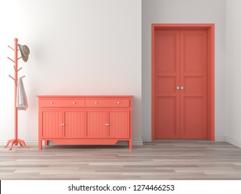 Empty room entrance hall interior with coral color concept 3d render,There are wood floor,white wall,orange empty cabinet and door.