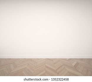 Empty room with fishbone parquet floor. Rendering made using free software Blender