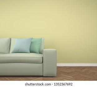 Empty room with fishbone parquet floor, yellow wall and sofa and pastel colored pillows. 3d rendering made using Blender