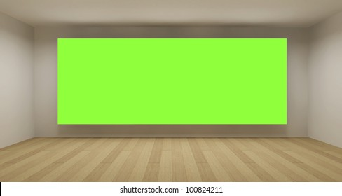 Empty room with green chroma key backdrop, 3d art concept, clean space