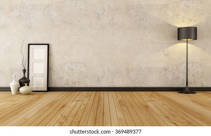 empty room with hardwood floor and old wall - 3D rendering