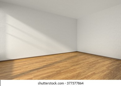 Empty room with hardwood parquet floor and walls with white textured wallpaper and sunlight from window, perspective view, 3d illustration
