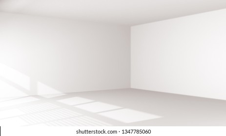 Empty room inside interior, realistic 3d illustration. Abstract white room, sunlight light falling from open windows, ceiling and corner, empty wall.