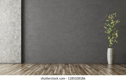 Empty room interior background, black stucco wall, vase with branch 3d rendering