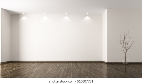 Empty room interior background with glass vase with branch 3d rendering
