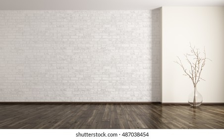 Empty room interior background, white brick wall, glass vase with branch 3d rendering