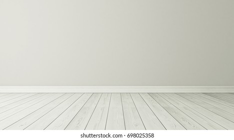 Empty room interior background with white parquet 3D rendering