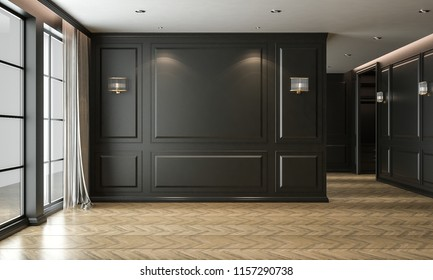 Empty room interior black, classic style, studio mock-up, 3D render 3D illustration