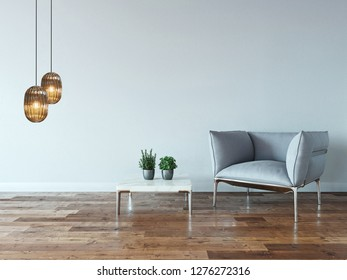 empty room interior decoration wooden floor, stone wall concept. decorative background for home, office and hotel. 3D illustration