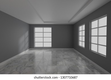 Empty room interior design 3d rendering
